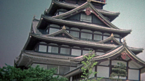 1973: Sake drink distillery factory Fushimi has traditional Asian architecture Footage