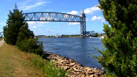 Cape Cod Canal; train bridge 2 Footage