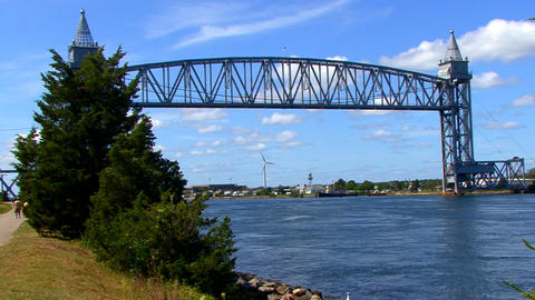 Cape Cod Canal; train bridge 3 Footage