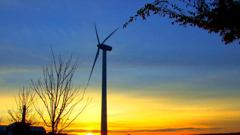 Wind Power Turbine at Sunset; 4 Footage