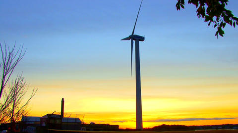 Wind Power Turbine at Sunset; 8 Footage