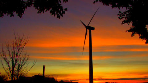 Wind Power Turbine at Sunset Footage
