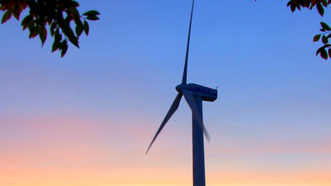 Wind Power Turbine at Sunset; 2 Footage