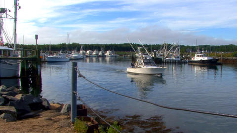 First Fishermen to Leave Marina Footage