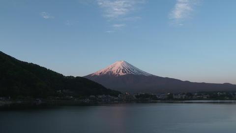 Mount Fuji, view get sunshine from Lake Kawaguchiko, Japan Footage