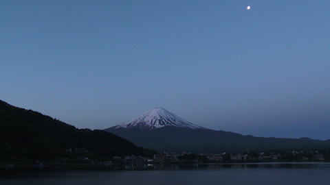 Mount Fuji, view before sunrise from Lake Kawaguchiko, Japan Footage
