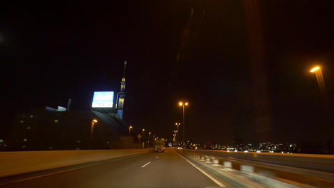Pov view driving night action around the Tokyo metropolitan highway (leftside to Footage