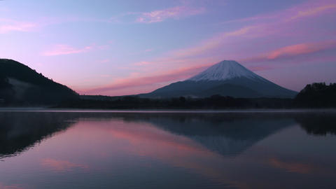 Mt Fuji reflect lake in the early morning Footage