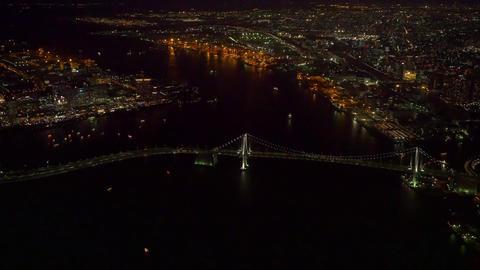 Rainbow bridge light up aerial tokyo,Japan Live Action
