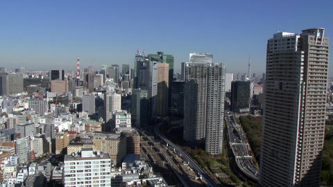 view of Tokyo's heavily populated central area shot (Tokyo skytree sun reflect) Footage