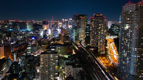 view of Tokyo's heavily populated central area shot time lapse(Tokyo skytree) Footage