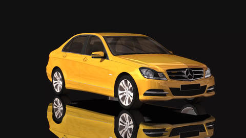 Car Mercedes Benz Moving Rotation Yellow Color Footage