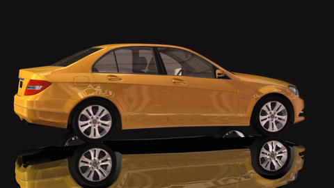 Car Mercedes Benz Moving Rotation Yellow Color Stock Video Footage
