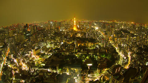 Tokyo tower, Japan cityscape time lapse Toyko,Japan Live Action