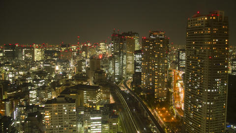 Tokyo shiodome building cityscape time lapse Toyko,Japan Footage