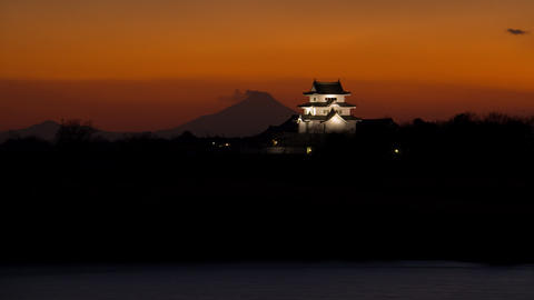 Japanese castle and mt'FUJI time lapse at dusk Footage