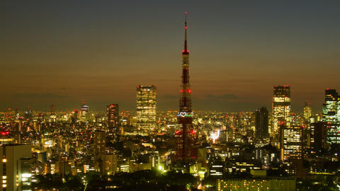 Tokyo Tower light down time lapse at dusk Toyko,Japan Live Action