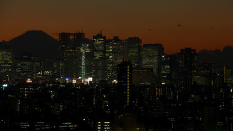 Mt'FUJI and Shinjuku buildings time lapse at dusk Toyko,Japan Live Action