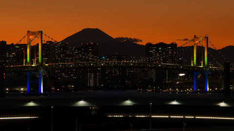 close up Mt'FUJI and Rainbow bridge time lapse at dusk Toyko,Japan Live Action