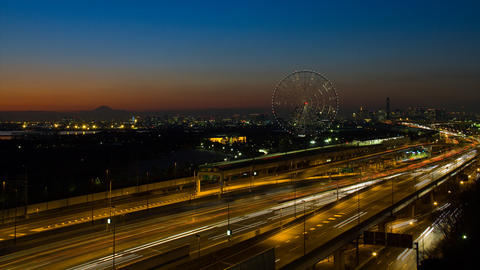 Mt'FUJI and high way rush time lapse at dusk tokyo japan ภาพวิดีโอ