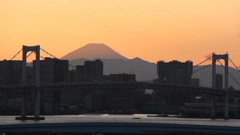 Mt'FUJI and Rainbow bridge at dusk Toyko,Japan Live Action