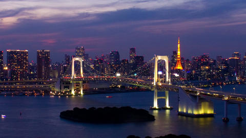 Tokyo Tower And Rainbow Bridge At Night Time Lapse Toyko,Japan stock footage