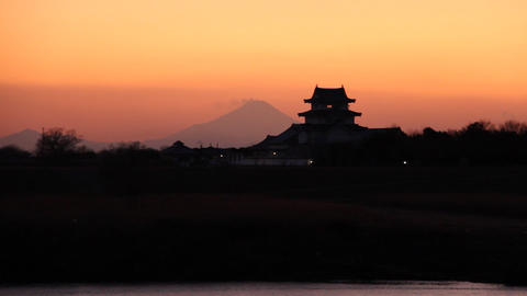 Japanese castle and mt'FUJI at dusk Toyko,Japan Footage