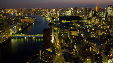 Timelapse view of Tokyo city at twilight with Tokyo Tower and Mt Fuji on the bac Footage