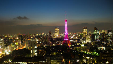 Timelapse view of Tokyo city at twilight with Tokyo Tower Footage