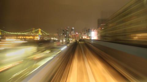 Yurikomome train time lapse at night Tokyo,Japan ビデオ