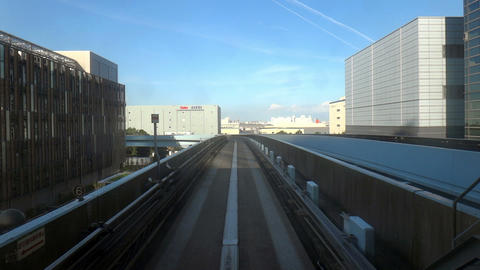 PoV View of Tokyo from Yurikamome automated train, Tokyo, Japan Footage