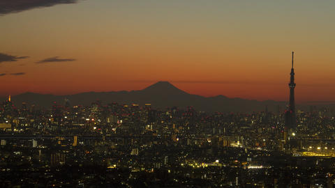 Mt'FUJI and tokyo buildings time lapse at dusk tokyo japan Live Action