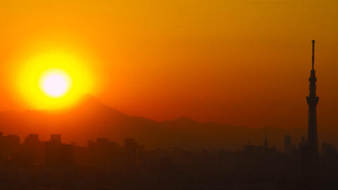 close up Tokyo Skytree and Mt'Fuji in the sunset time lapse Tokyo, Japan Footage