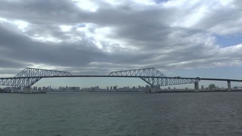 Tokyo Gate Bridge From Ocean Tokyo, Japan stock footage