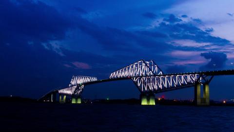Tokyo Gate Bridge light up time lapseat dusk Tokyo, Japan ビデオ