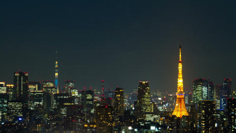 Tokyo Tower and Tokyo Skytree from Japan Tokyo, Japan Footage