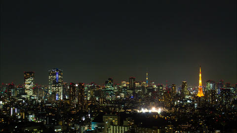 Tokyo Tower , Roppogi hills and Tokyo Skytree light up time lapse Tokyo, Japan Footage