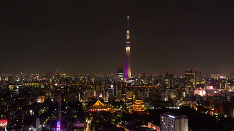 Tokyo Skytree and sensoji-temple time lapse at night Tokyo, Japan Footage