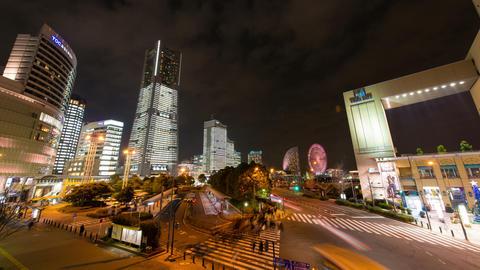 Yokohama city at night time lapse Footage