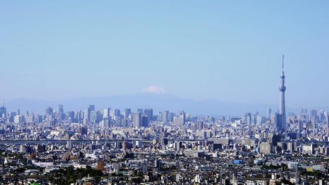 Mt'Fuji and Tokyo Skytree Tokyo, Japan Footage