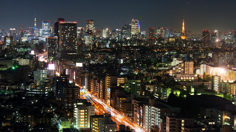Tokyo Tower and Tokyo Skytree from Tokyo, Japan Footage