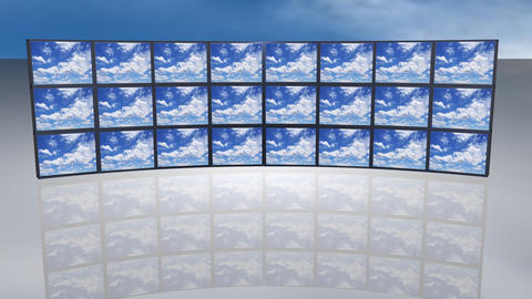 Multi screen White clouds running over blue sky Footage