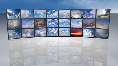 Multi screen White clouds running over the sky Footage