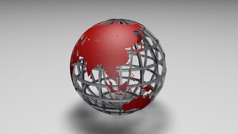 Rotating transparent glass mesh red Earth globe loop ビデオ
