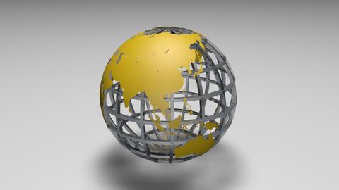 Rotating transparent glass mesh yellow Earth globe loop ビデオ