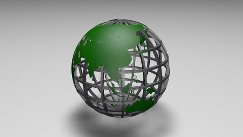 Rotating transparent glass mesh green Earth globe loop ビデオ