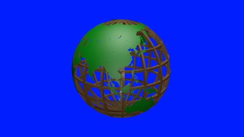Rotating transparent glass mesh green Earth globe loop blue background ビデオ