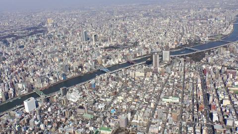 asakusa sumida river area Aerial Shoot in Tokyo,Japan Footage