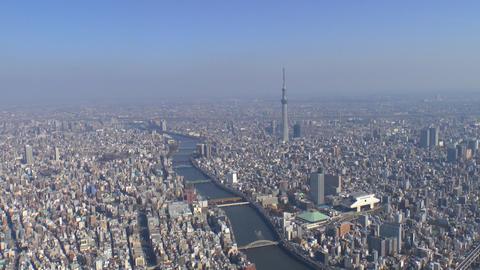 Tokyo Skytree and sumida river Aerial Shoot in Tokyo,Japan Footage