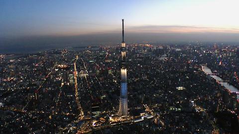 Tokyo Skytree light up Aerial Shoot in Tokyo,Japan ビデオ
